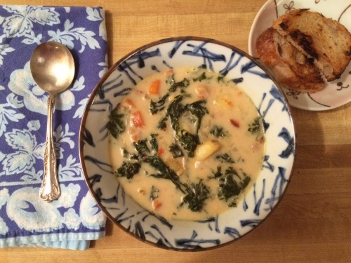 Soup, creamy potato and kale soup